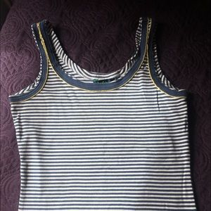 Boden size 8 tank - stripes with yellow piping